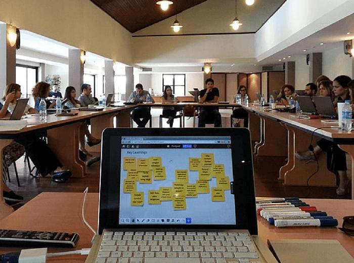 Miro at Vodafone service design workshop