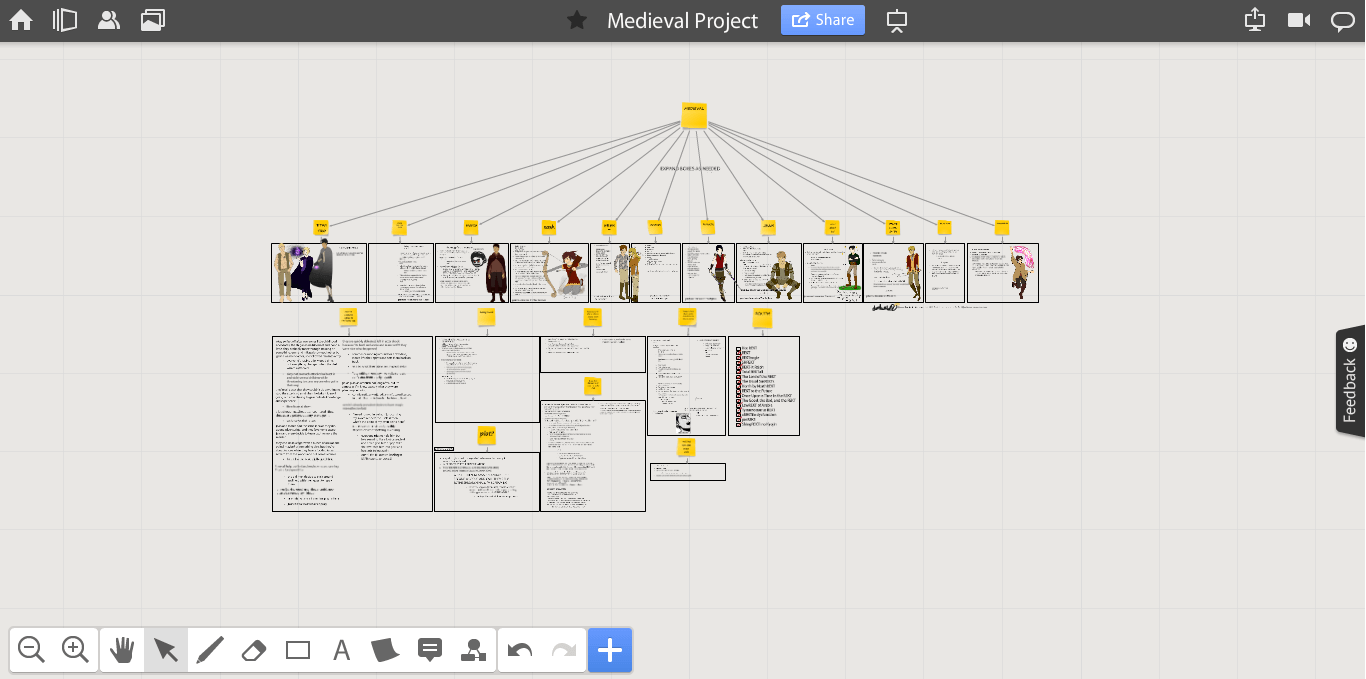 Online whiteboard for managing creative workflow