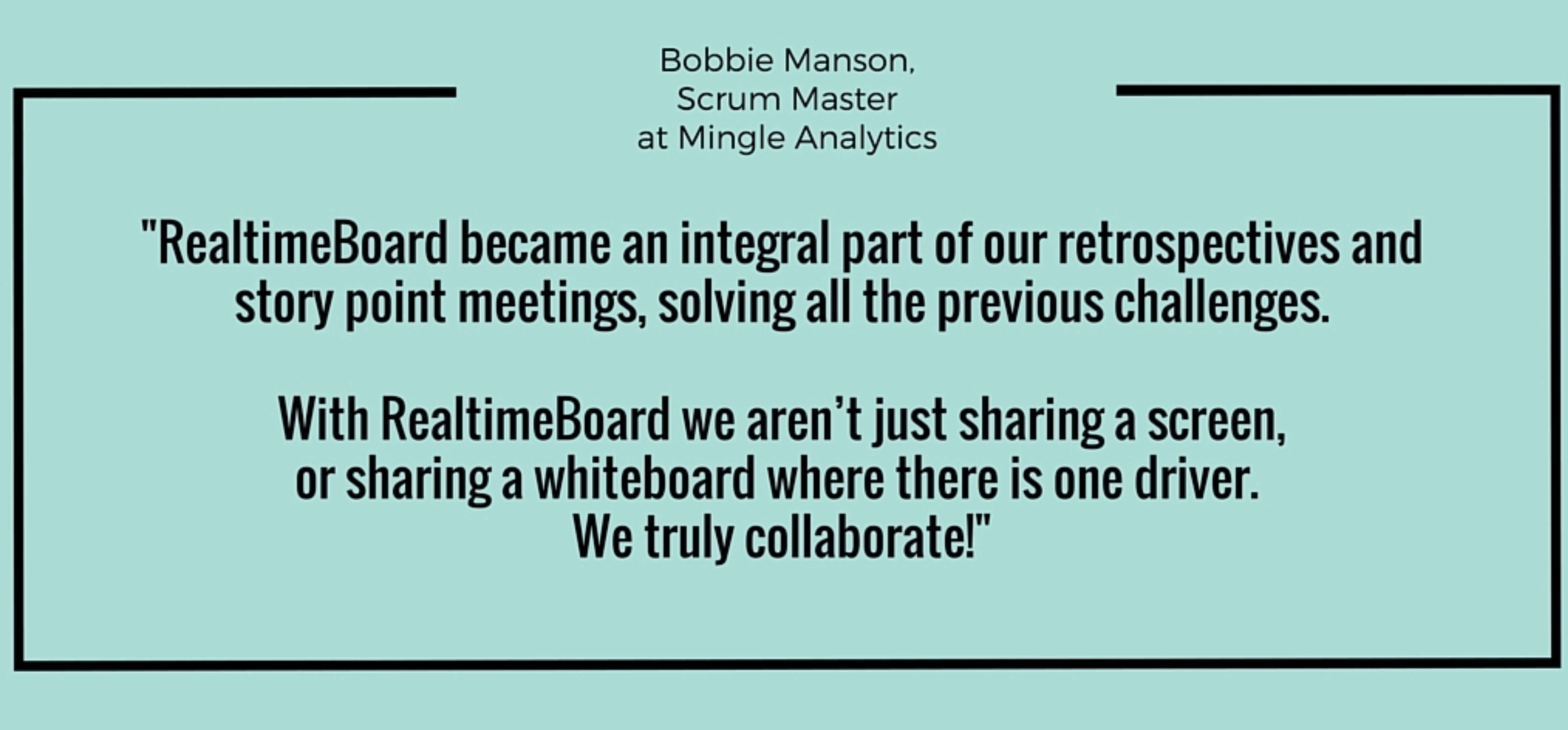 Bobbie Manson from Mingle Analytics describes how her remote agile team could solve collaboration problems.