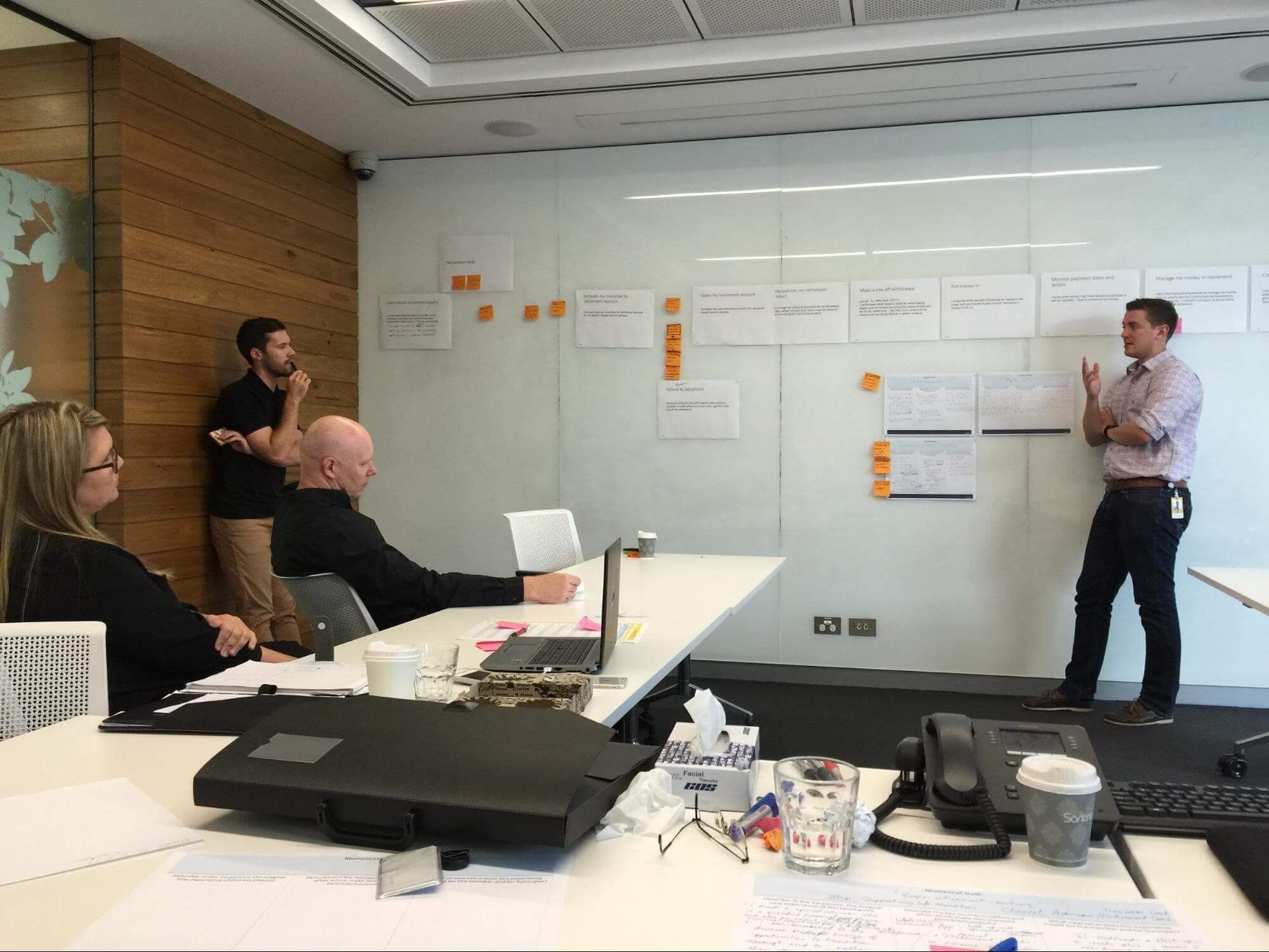The cross-functional team workshopping customer journey experience.