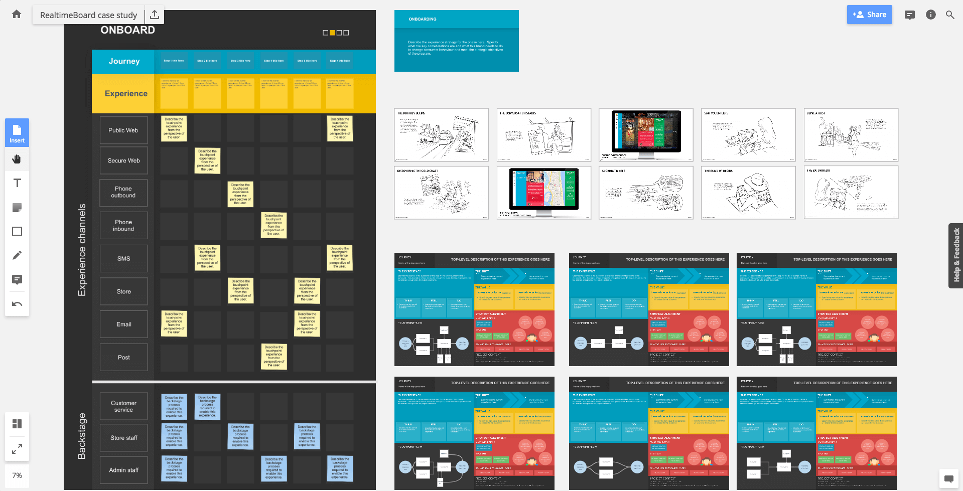 A blueprint, strategy, storyboard and micro-journey brief in RealtimeBoard