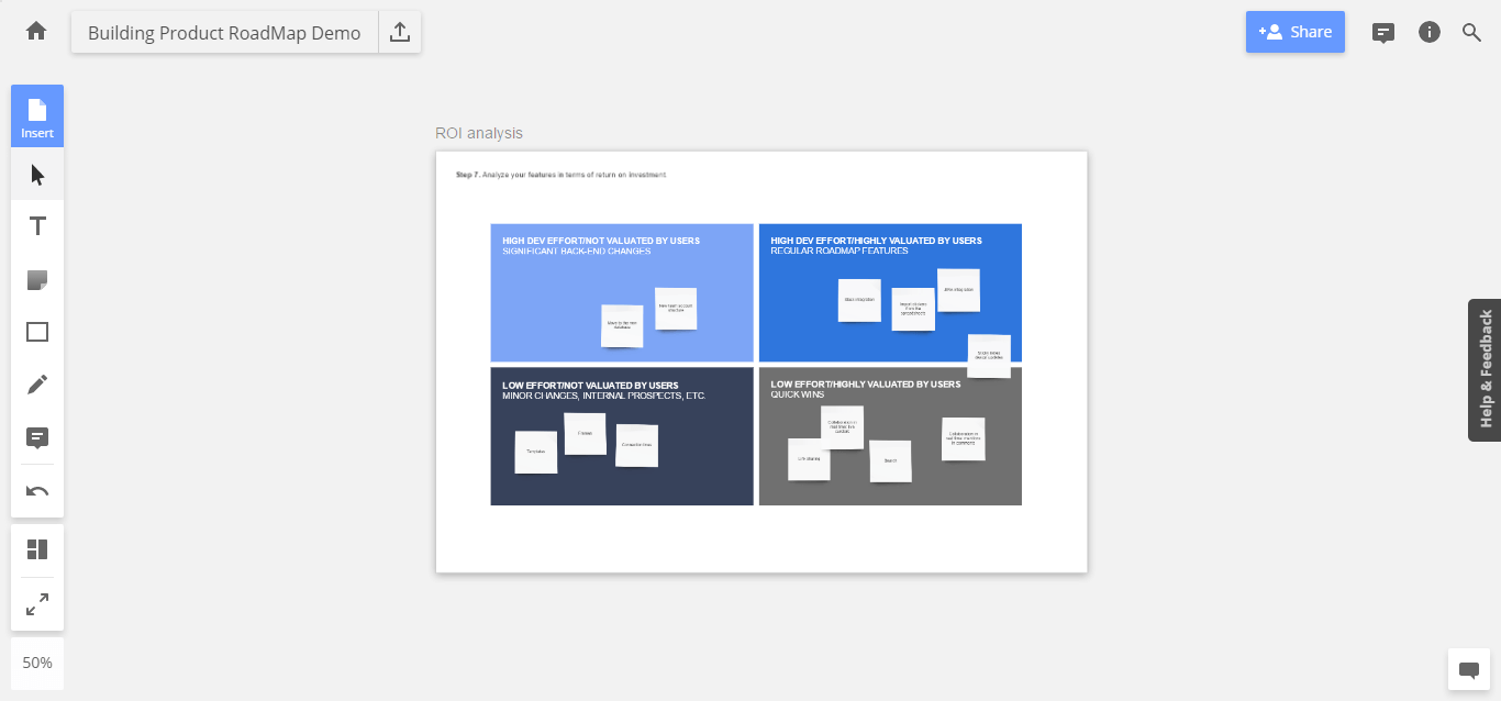 ROI test is the last filter for the features before being added to the roadmap.