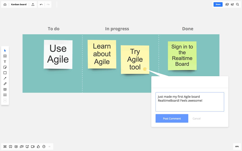 kanban board screen example in Realtimeboard