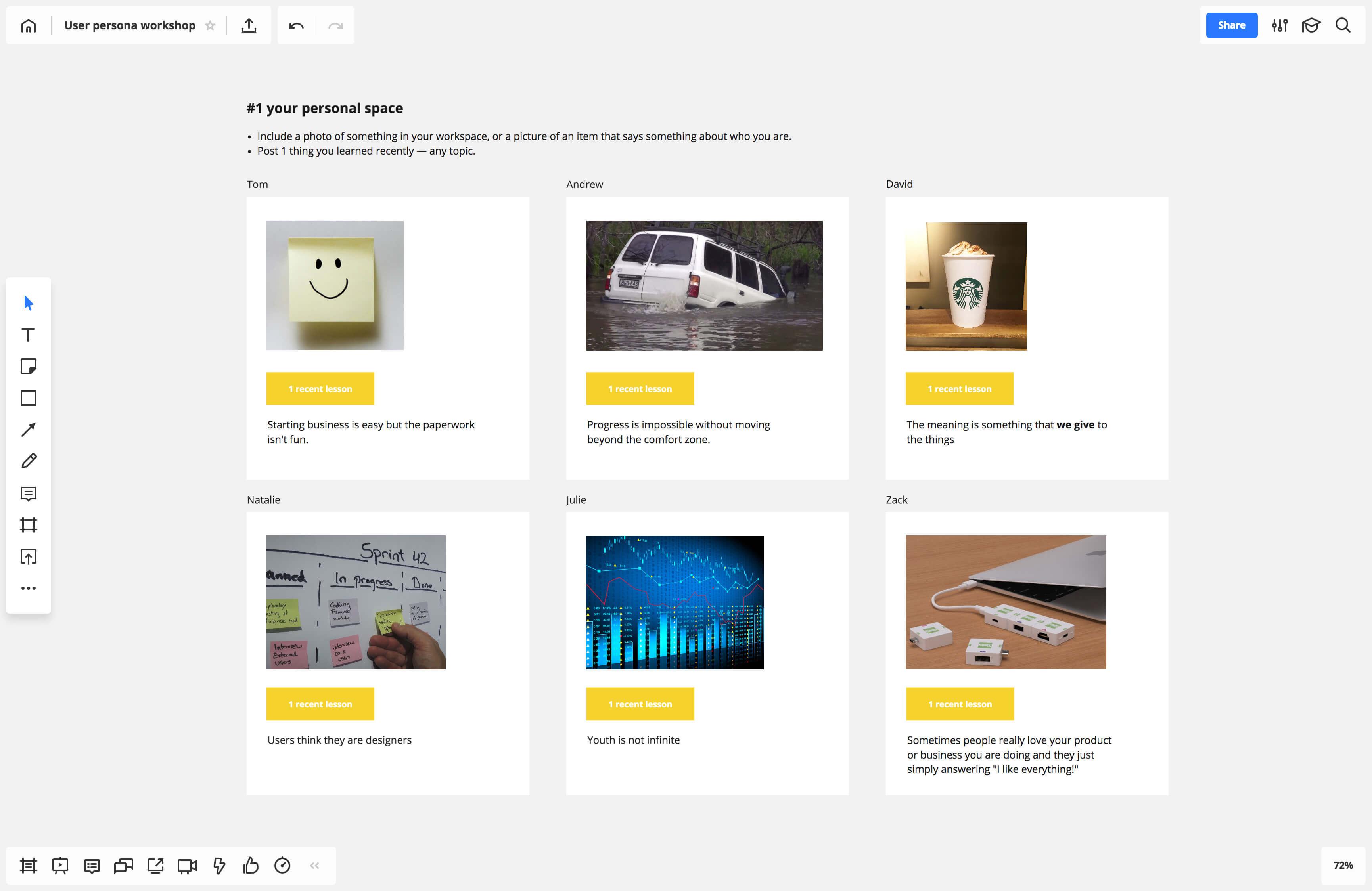 Remote team building activities - persona workshop