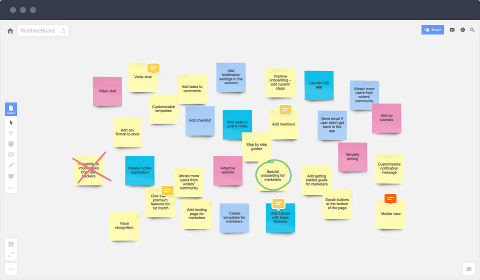 Infinite canvas for brainstorming sessions. UX tool,  RealtimeBoard.